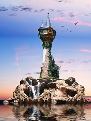Wizards tower, Fantasy tower sitting on a rock Island