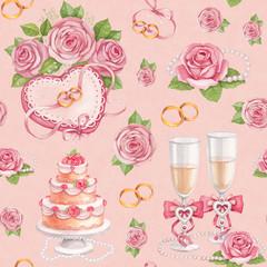 Artistic seamless pattern. Watercolor wedding illustrations