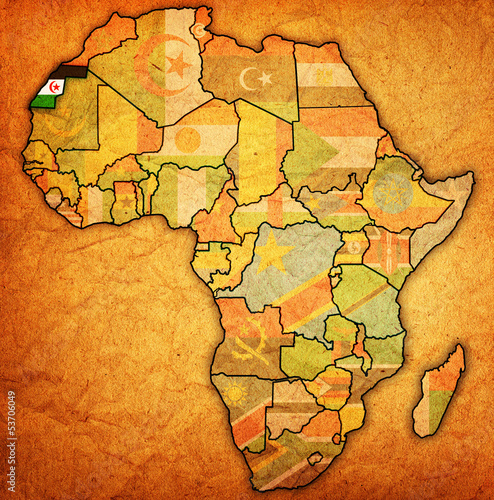 Map Of Africa Sahara.Western Sahara On Actual Map Of Africa Stock Photo And Royalty Free