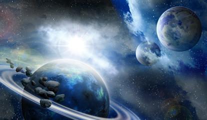 Obraz Planety i meteoryty w kosmosie - fototapety do salonu