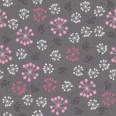 kolorowe kwiaty dmuchawce na ciemnym tle nieskończony deseń