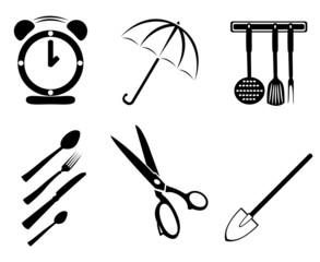 collection of household items on a white background