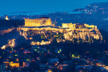 Printed roller blinds Athens The Acropolis in Athens, Greece, at night