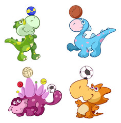 cute sport baby dinos playing with balls