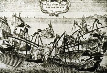 Knights of Malta attacking turkish galley