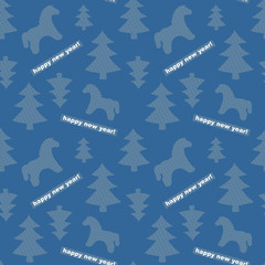 Seamless New-Year background with trees and horses