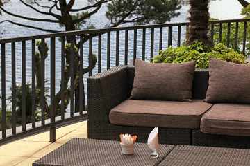 terrace outdoor cafe with sofa and lake view(Montreux, Switzerla