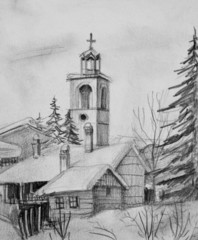 Pencil Drawing of Old Church in Bansko