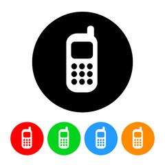 Cell Phone Icon Vector with Four Color Variations