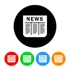 Newspaper Icon with Color Variations