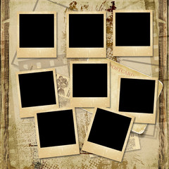 Vintage background with stack of old polaroid frame