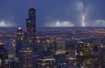 Wall Mural - Skyline Chicago Storm