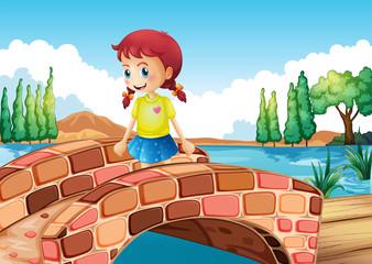 A girl crossing the bridge