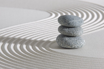 Obraz Japanese zen garden with stone in sand - fototapety do salonu