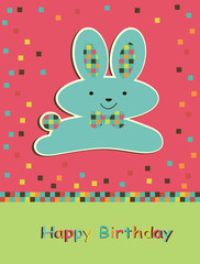 Happy Birthday card with cute hare