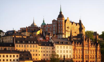 Stockholm Sodermalm area at sunset.