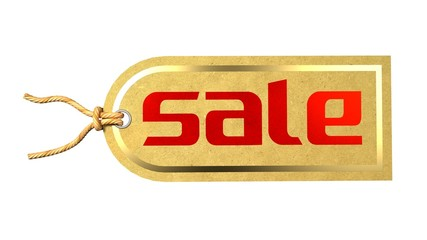 Sale Label Tag Printed on a Natural Paper with Golden Border