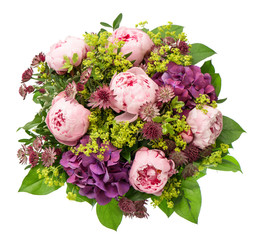 bouquet of beautiful pink peony flowers on white background