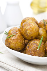 baked new potatoes with spices, close-up