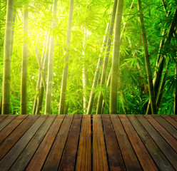 Poster de jardin Bambou bamboo forest with ray of lights and plank woods, suitable for p