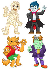 Funny cartoon halloween set.