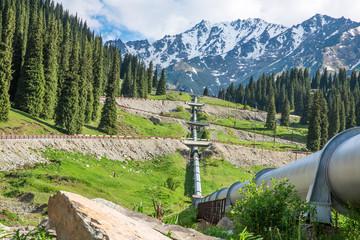 Pipeline on road  Big Almaty Lake in Almaty, Kazakhstan