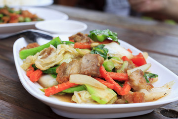 Stir fried young Kate with Pork