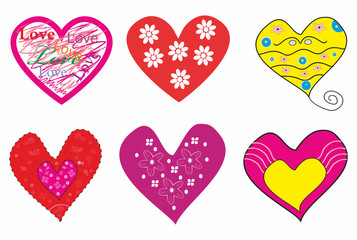 Beautiful set of romantic hearts.Vector illustration
