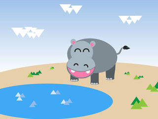 illustration of a hippopotamus in water
