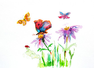 watercolor drawing of a flower with a butterfly