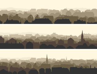 Horizontal illustration of big European city.
