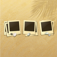 Set of Photo Frames on a Sandy Beach