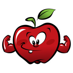 Happy cartoon strong red apple making a power gesture