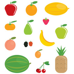 Simple cartoon shinny fruits collection