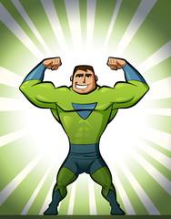 Super hero in suit in green background
