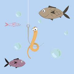 cartoon illustration of a worm on a hook