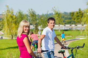 Parents enjoying cycling
