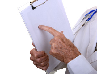 Doctor pointing at clipboard isolated on white