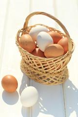 uova in cesto di vimini su tavolo bianco