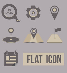 Vector set icons modes of transport. navigation pins.