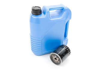 Blue oil can and filter