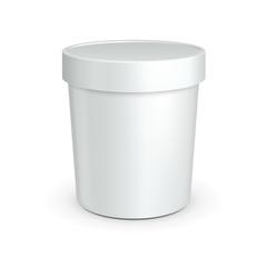 White Tub Food Plastic Container For Dessert, Yogurt, Ice Cream