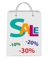 White shopping paper bag. Sale.