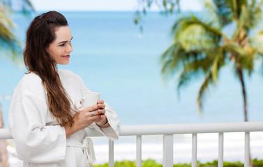 Woman enjoying morning drink