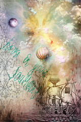 Canvas Prints Imagination Grunge background with ship and hot air balloon