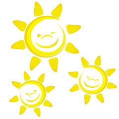 3 lachende Sonnen