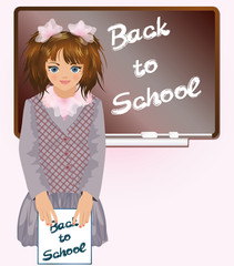 Schoolgirl with notebook Back to school