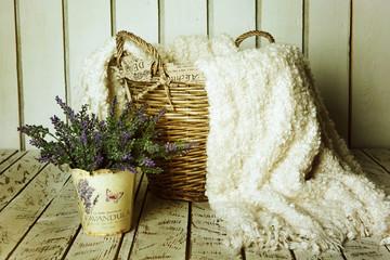 Vintage basket with lavender