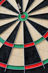 Wall Mural - dartboard with dart in the center