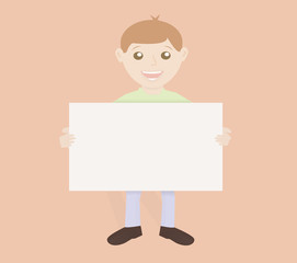 Friendly boy holding board